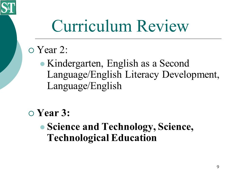 9 Curriculum Review  Year 2: Kindergarten, English as a Second Language/English Literacy Development, Language/English  Year 3: Science and Technology, Science, Technological Education