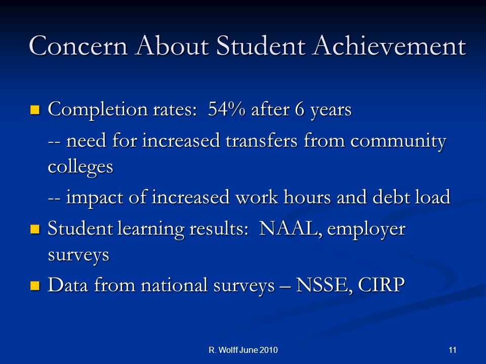 Concern About Student Achievement Completion rates: 54% after 6 years Completion rates: 54% after 6 years -- need for increased transfers from community colleges -- impact of increased work hours and debt load Student learning results: NAAL, employer surveys Student learning results: NAAL, employer surveys Data from national surveys – NSSE, CIRP Data from national surveys – NSSE, CIRP 11R.