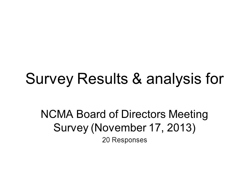 Survey Results & analysis for NCMA Board of Directors Meeting Survey (November 17, 2013) 20 Responses