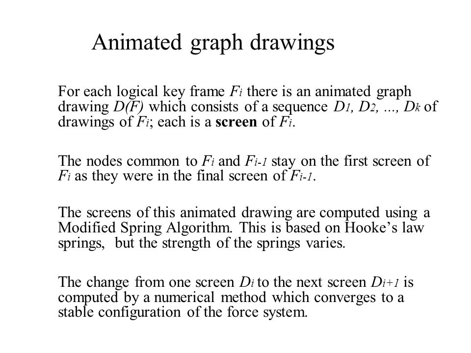 Animated graph drawings For each logical key frame F i there is an animated graph drawing D(F) which consists of a sequence D 1, D 2,..., D k of drawings of F i ; each is a screen of F i.