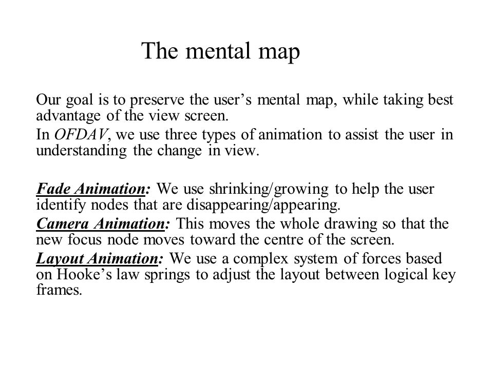 The mental map Our goal is to preserve the user's mental map, while taking best advantage of the view screen.
