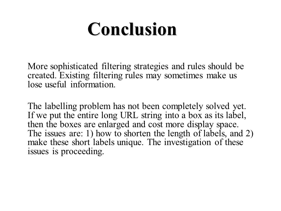 Conclusion More sophisticated filtering strategies and rules should be created.