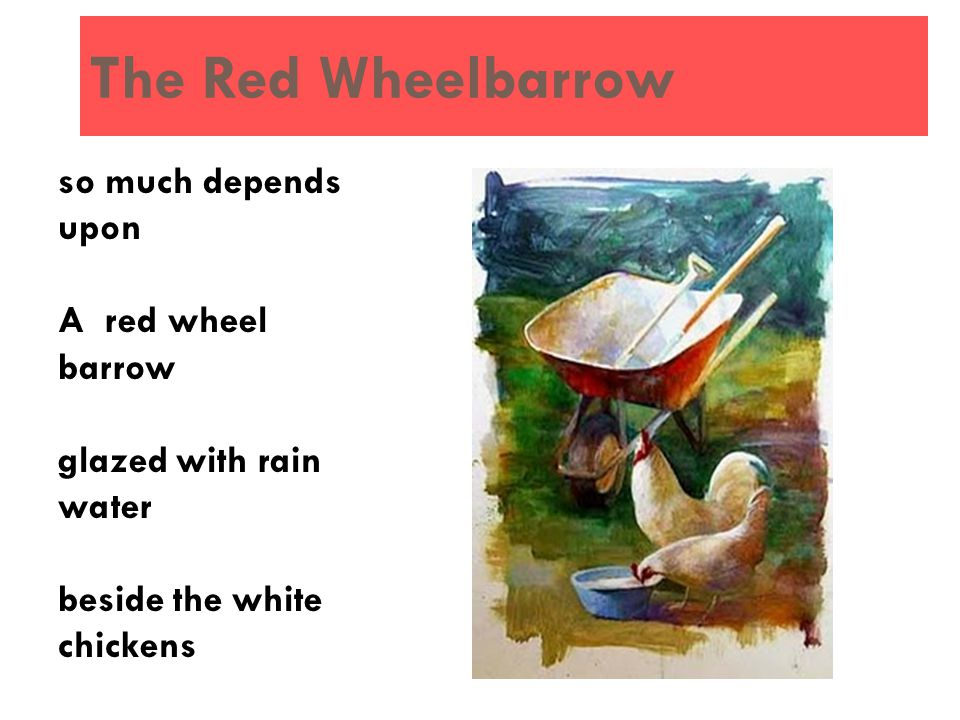 The Red Wheelbarrow so much depends upon A red wheel barrow glazed with rain water beside the white chickens