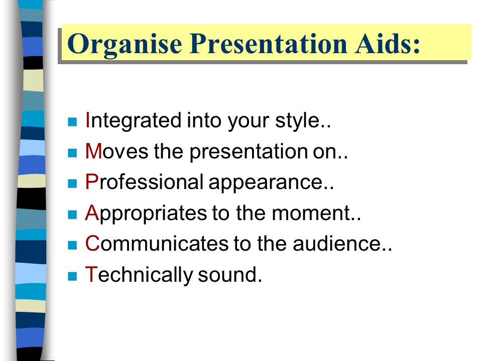 Organise Presentation Aids: n Integrated into your style..