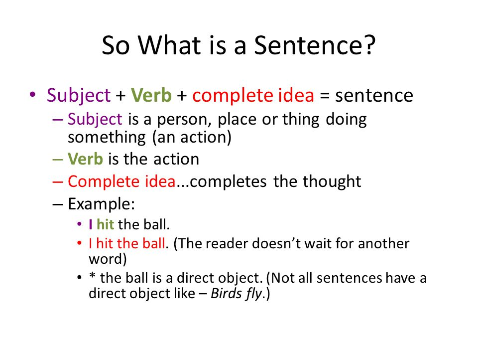 So What is a Sentence.