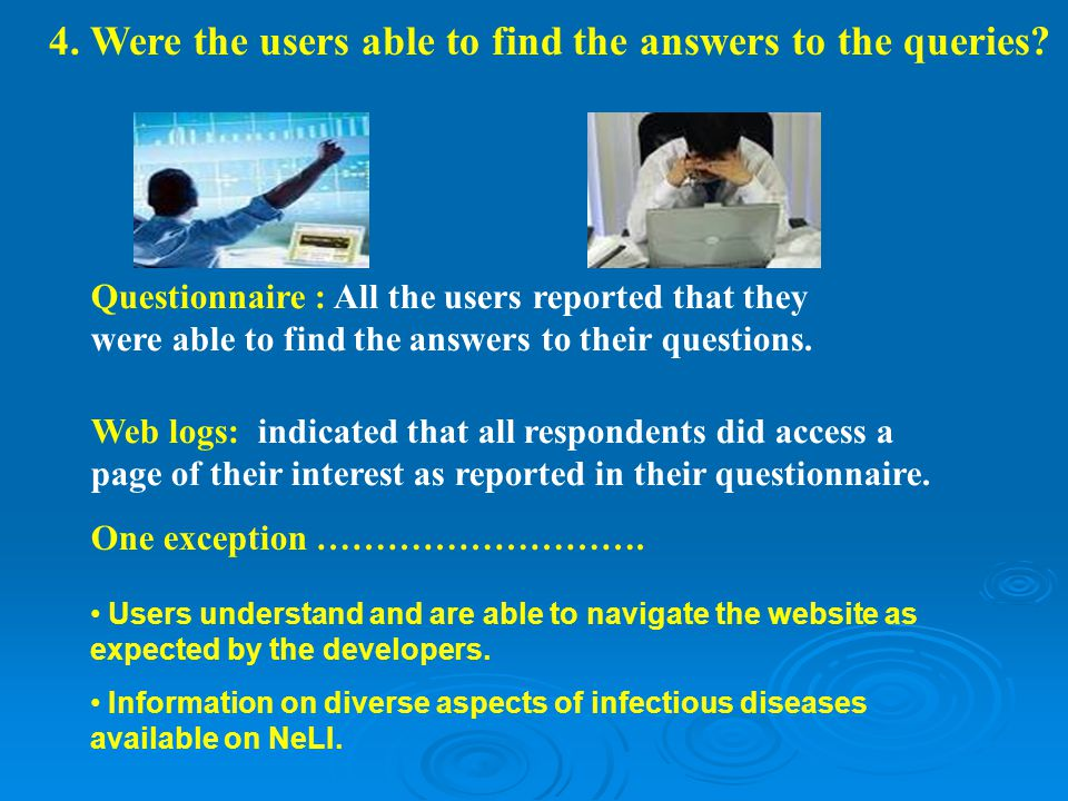 Questionnaire : All the users reported that they were able to find the answers to their questions.