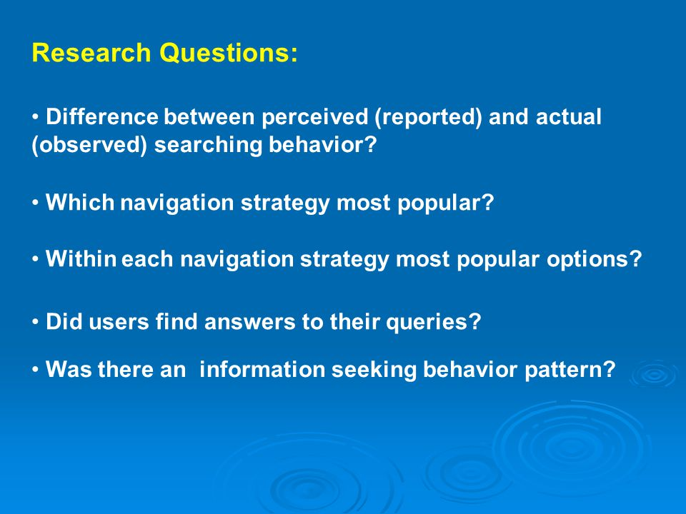 Research Questions: Difference between perceived (reported) and actual (observed) searching behavior.