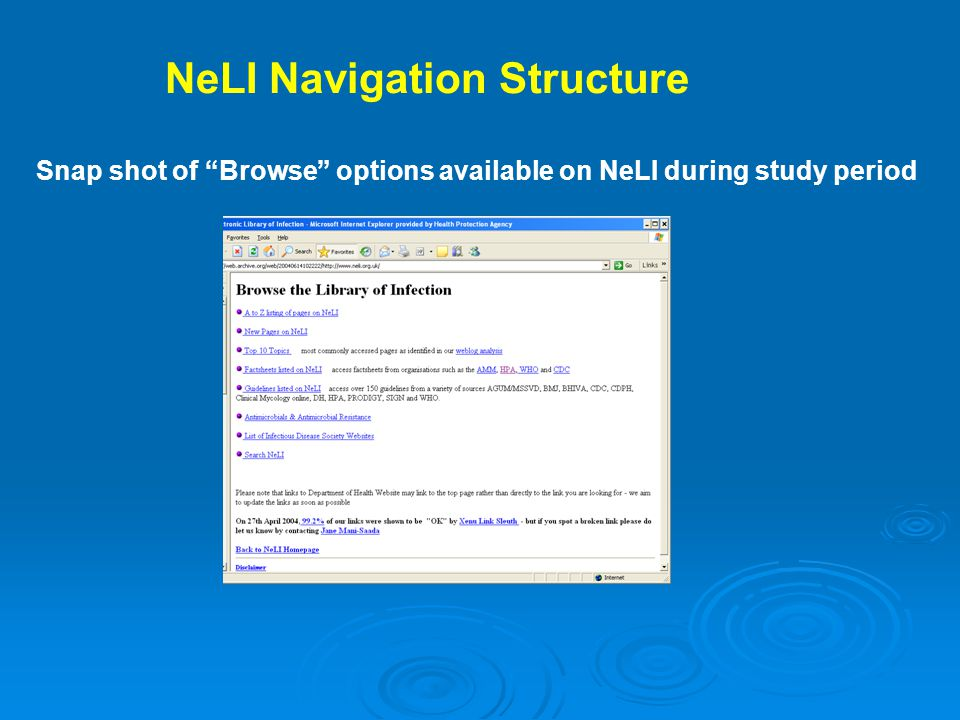 NeLI Navigation Structure Snap shot of Browse options available on NeLI during study period
