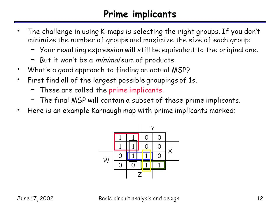 June 17, 2002Basic circuit analysis and design12 Prime implicants The challenge in using K-maps is selecting the right groups. If you don't minimize t