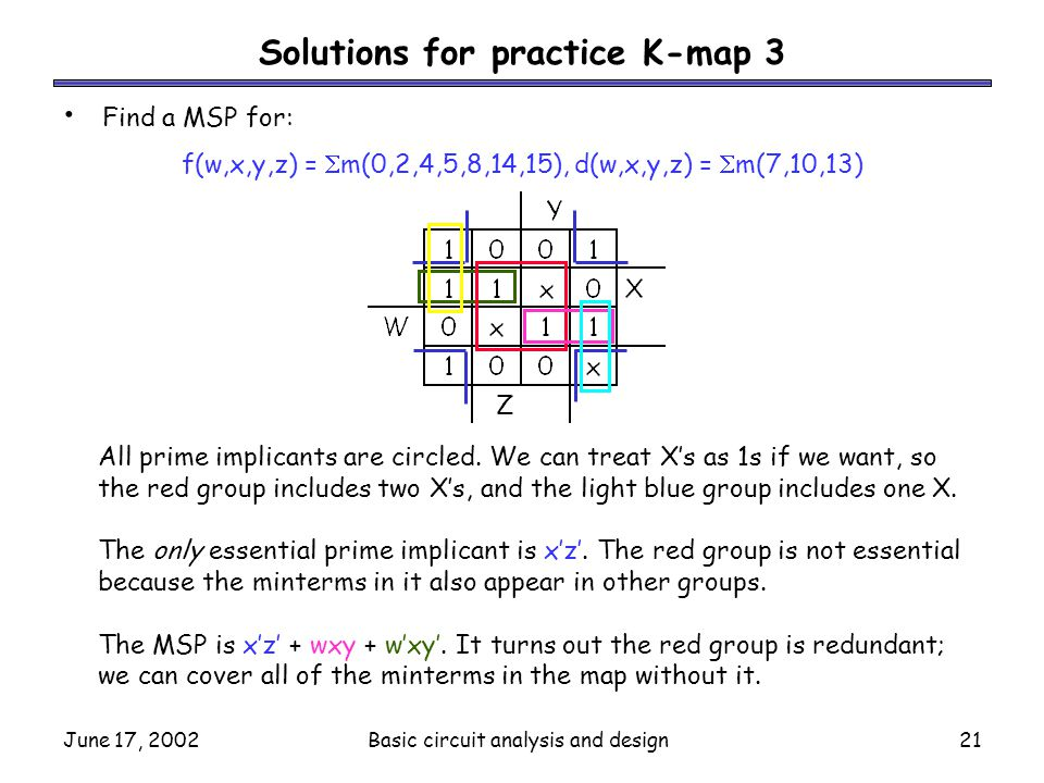 June 17, 2002Basic circuit analysis and design21 Solutions for practice K-map 3 Find a MSP for: f(w,x,y,z) =  m(0,2,4,5,8,14,15), d(w,x,y,z) =  m(7,
