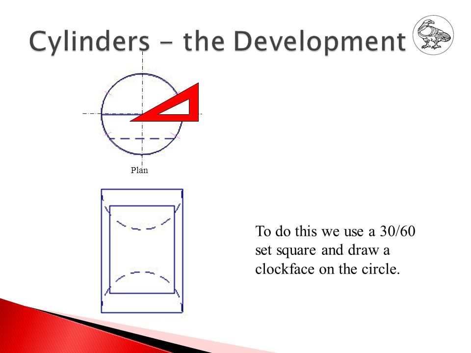 To do this we use a 30/60 set square and draw a clockface on the circle. Plan