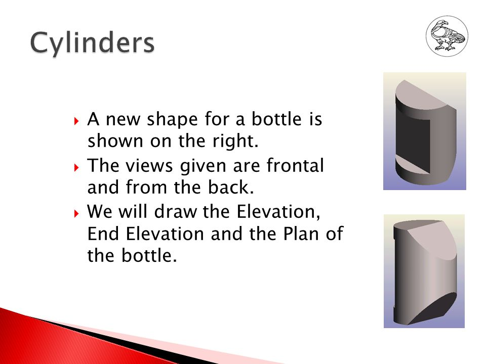  A new shape for a bottle is shown on the right.  The views given are frontal and from the back.