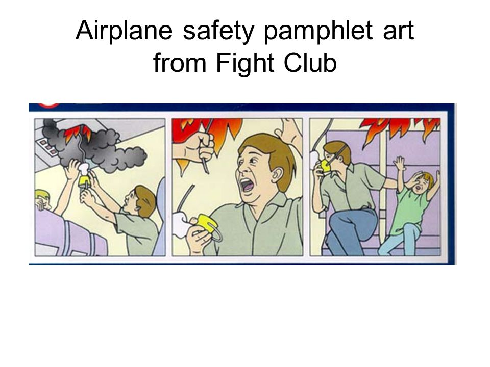 Airplane safety pamphlet art from Fight Club