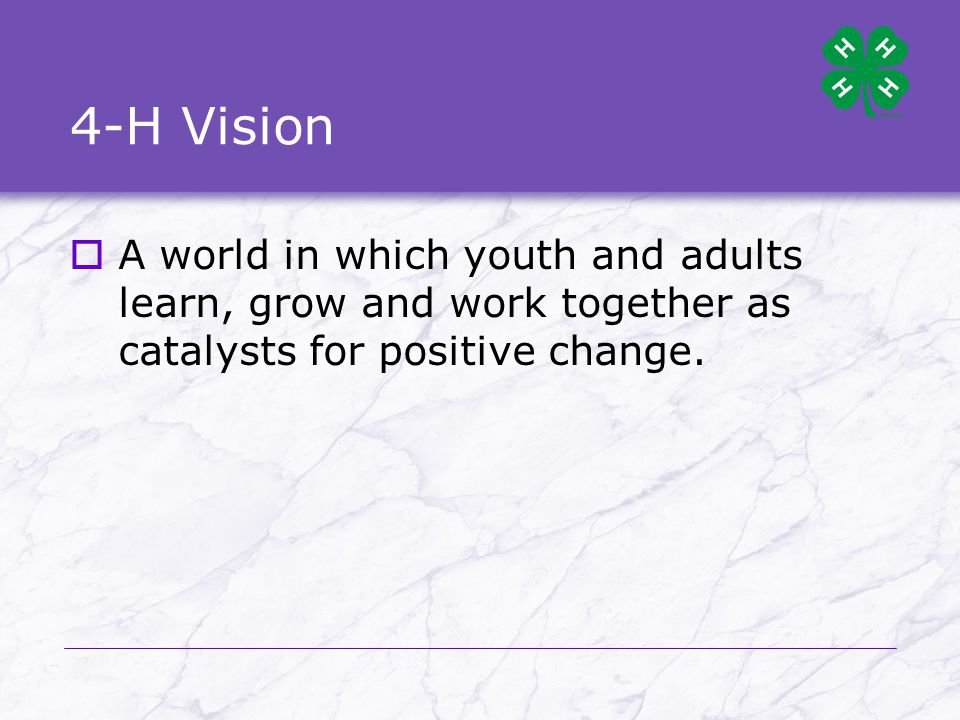4-H Vision  A world in which youth and adults learn, grow and work together as catalysts for positive change.