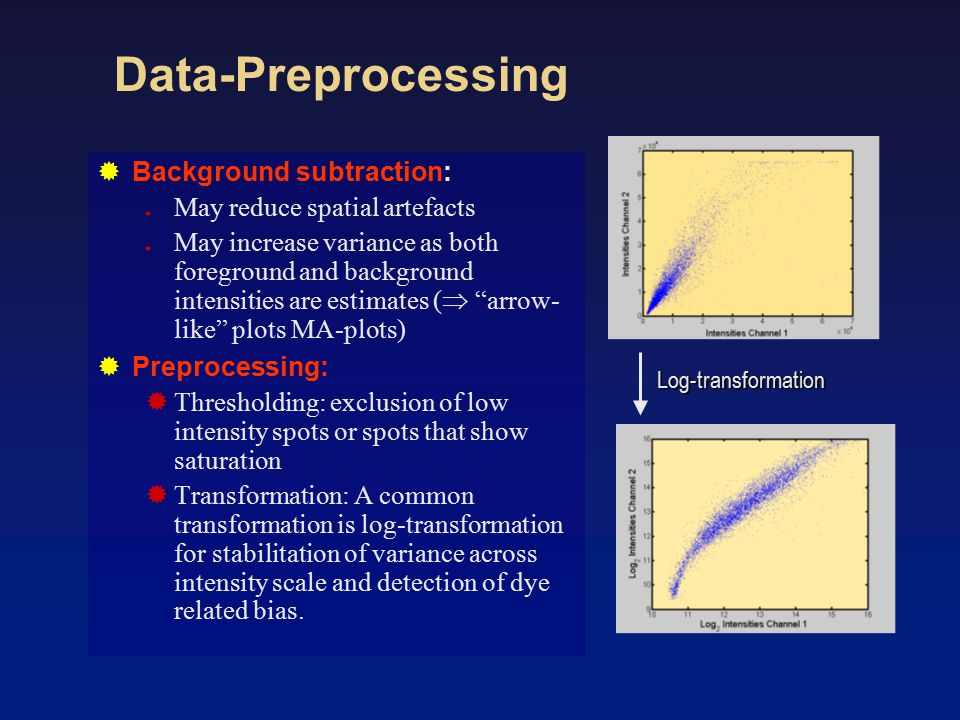 Data-Preprocessing  Background subtraction:  May reduce spatial artefacts  May increase variance as both foreground and background intensities are estimates (  arrow- like plots MA-plots)  Preprocessing:  Thresholding: exclusion of low intensity spots or spots that show saturation  Transformation: A common transformation is log-transformation for stabilitation of variance across intensity scale and detection of dye related bias.