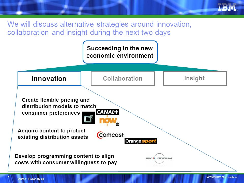 © 2009 IBM Corporation We will discuss alternative strategies around innovation, collaboration and insight during the next two days 7 Innovation Insight Collaboration Develop programming content to align costs with consumer willingness to pay Acquire content to protect existing distribution assets Create flexible pricing and distribution models to match consumer preferences Source: IBM analysis Succeeding in the new economic environment