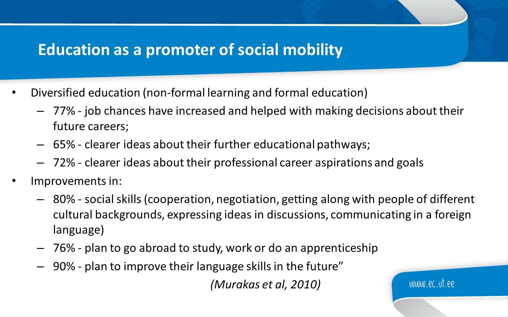 Education as a promoter of social mobility Diversified education (non-formal learning and formal education) – 77% - job chances have increased and hel