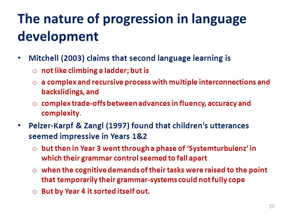 The nature of progression in language development Mitchell (2003) claims that second language learning is o not like climbing a ladder; but is o a complex and recursive process with multiple interconnections and backslidings, and o complex trade-offs between advances in fluency, accuracy and complexity.