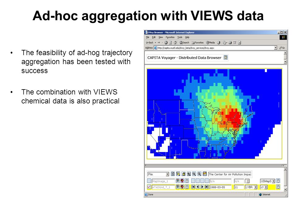 Ad-hoc aggregation with VIEWS data The feasibility of ad-hog trajectory aggregation has been tested with success The combination with VIEWS chemical data is also practical