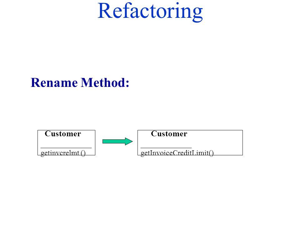 Refactoring Rename Method: Customer ____________ getinvcrelmt () Customer ____________ getInvoiceCreditLimit()