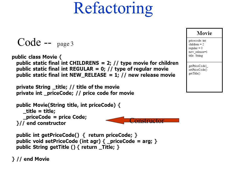 Refactoring public class Movie { public static final int CHILDRENS = 2; // type movie for children public static final int REGULAR = 0; // type of reg