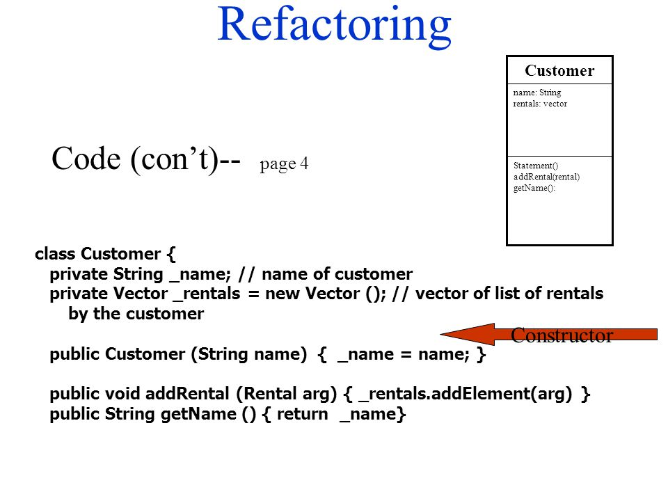 Refactoring class Customer { private String _name; // name of customer private Vector _rentals = new Vector (); // vector of list of rentals by the cu
