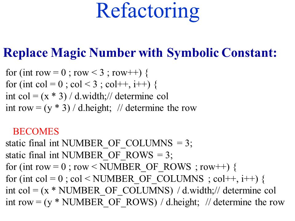 Refactoring Replace Magic Number with Symbolic Constant: for (int row = 0 ; row < 3 ; row++) { for (int col = 0 ; col < 3 ; col++, i++) { int col = (x