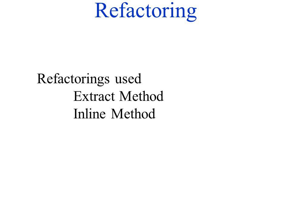 Refactoring Refactorings used Extract Method Inline Method