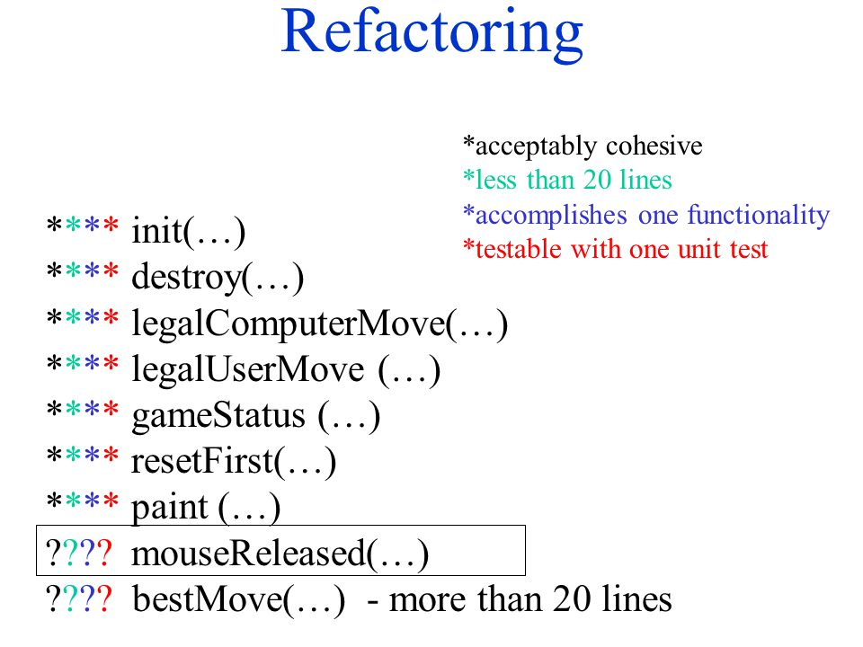 Refactoring **** init(…) **** destroy(…) ****legalComputerMove(…) ****legalUserMove (…) **** gameStatus (…) **** resetFirst(…) ****paint (…) ????mouse