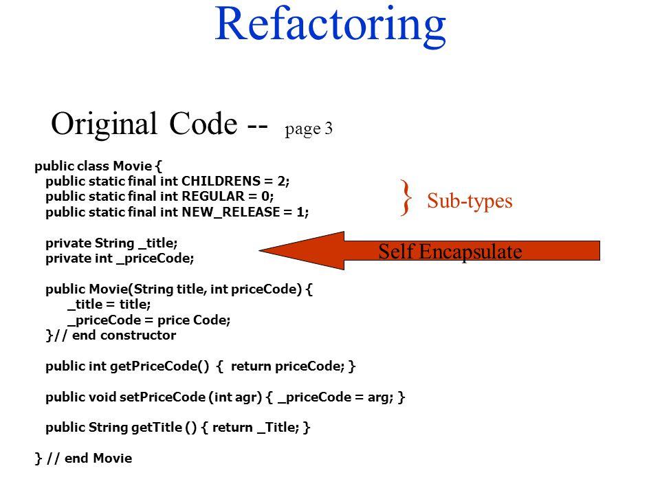 Refactoring public class Movie { public static final int CHILDRENS = 2; public static final int REGULAR = 0; public static final int NEW_RELEASE = 1; private String _title; private int _priceCode; public Movie(String title, int priceCode) { _title = title; _priceCode = price Code; }// end constructor public int getPriceCode() { return priceCode; } public void setPriceCode (int agr) { _priceCode = arg; } public String getTitle () { return _Title; } } // end Movie Original Code -- page 3 } Sub-types Self Encapsulate