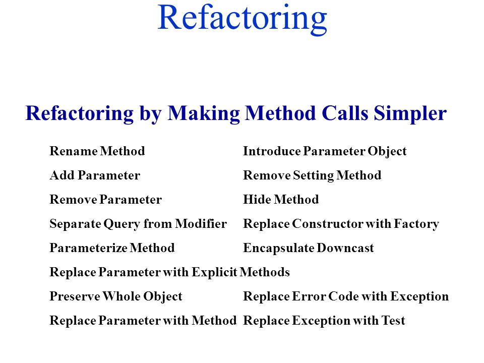 Refactoring Rename MethodIntroduce Parameter Object Add ParameterRemove Setting Method Remove ParameterHide Method Separate Query from ModifierReplace