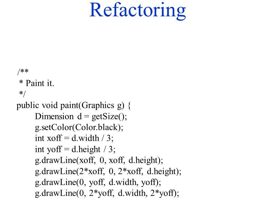 Refactoring /** * Paint it.