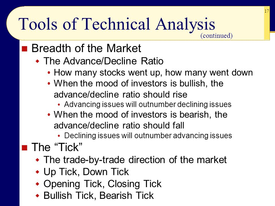 17 Tools of Technical Analysis Breadth of the Market  The Advance/Decline Ratio  How many stocks went up, how many went down  When the mood of investors is bullish, the advance/decline ratio should rise  Advancing issues will outnumber declining issues  When the mood of investors is bearish, the advance/decline ratio should fall  Declining issues will outnumber advancing issues The Tick  The trade-by-trade direction of the market  Up Tick, Down Tick  Opening Tick, Closing Tick  Bullish Tick, Bearish Tick (continued)