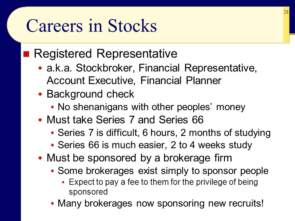 28 Careers in Stocks Registered Representative  a.k.a.