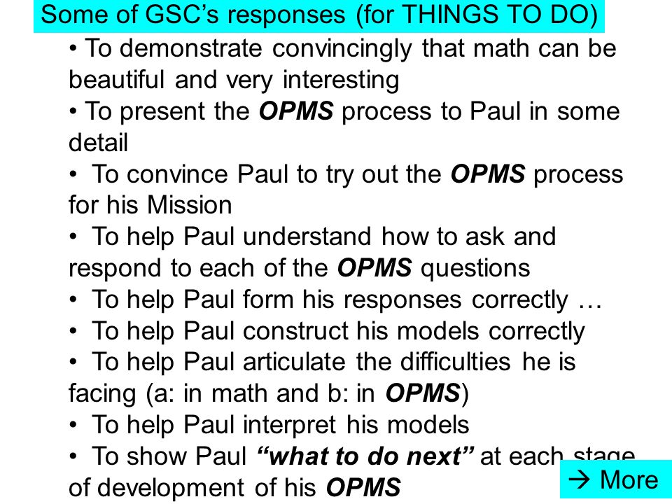 To demonstrate convincingly that math can be beautiful and very interesting To present the OPMS process to Paul in some detail To convince Paul to try out the OPMS process for his Mission To help Paul understand how to ask and respond to each of the OPMS questions To help Paul form his responses correctly … To help Paul construct his models correctly To help Paul articulate the difficulties he is facing (a: in math and b: in OPMS) To help Paul interpret his models To show Paul what to do next at each stage of development of his OPMS Some of GSC's responses (for THINGS TO DO)  More
