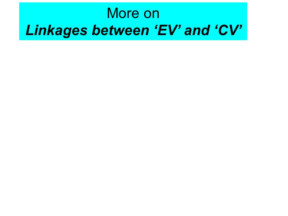 More on Linkages between 'EV' and 'CV'