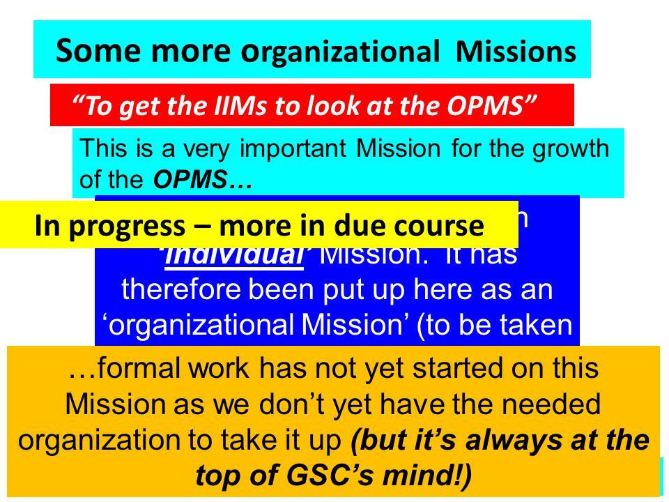 Societal Missions (none yet undertaken using OPMS thus far) To develop effective education systems, at various levels, that will effectively meet the needs of the nation during the 21 st century To develop effective education systems, at various levels, that will effectively meet the needs of the nation during the 21 st century To ensure that we allocate sufficient resources to meet the needs of the primary education sector To ensure that we allocate sufficient resources to meet the needs of the primary education sector To develop a truly effective system of technical education for the nation To develop a truly effective system of technical education for the nation To develop a truly effective system of management education for the nation To develop a truly effective system of management education for the nation To ensure that we develop at least 10 educational institutions that are reckoned to be within the top 100 worldwide – within 5 years To ensure that we develop at least 10 educational institutions that are reckoned to be within the top 100 worldwide – within 5 years In progress – details in due course  More In general, a societal Mission may demand the coordinated performance of activities by one or more organizations.