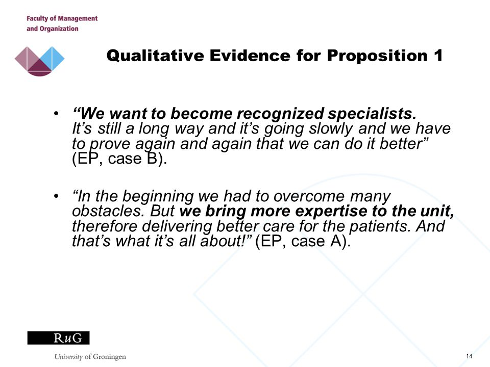 14 Qualitative Evidence for Proposition 1 We want to become recognized specialists.