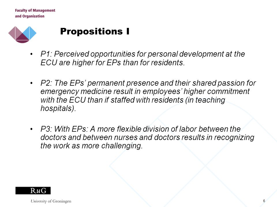 6 Propositions I P1: Perceived opportunities for personal development at the ECU are higher for EPs than for residents. P2: The EPs' permanent presenc