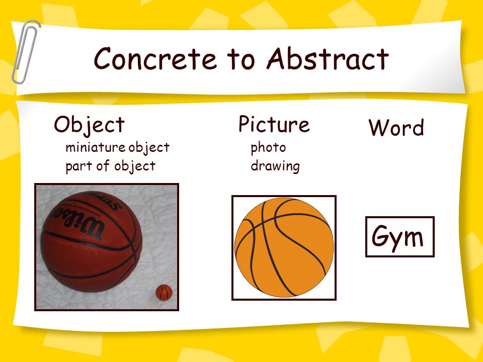 Concrete to Abstract Gym Object miniature object part of object Picture photo drawing Word