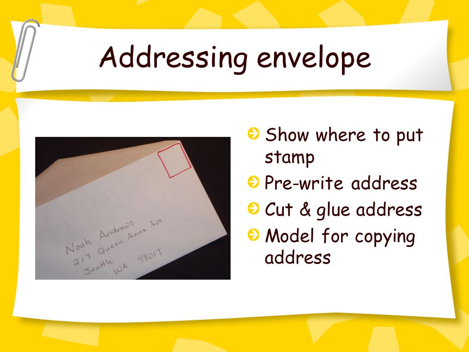 Addressing envelope Show where to put stamp Pre-write address Cut & glue address Model for copying address
