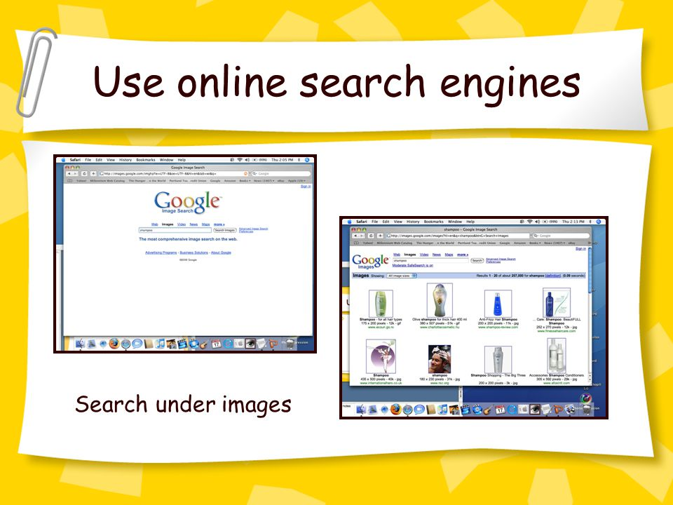 Use online search engines Search under images