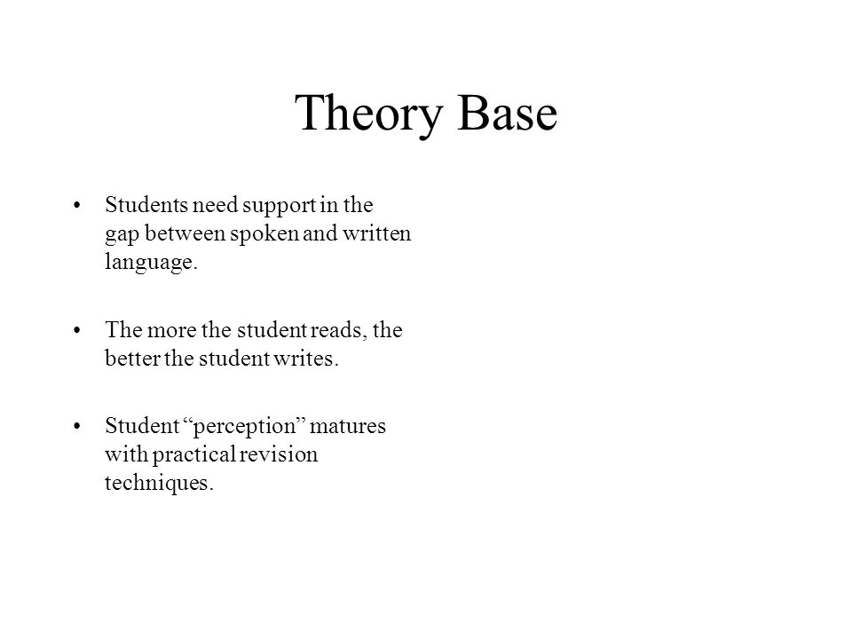 Theory Base Students need support in the gap between spoken and written language.