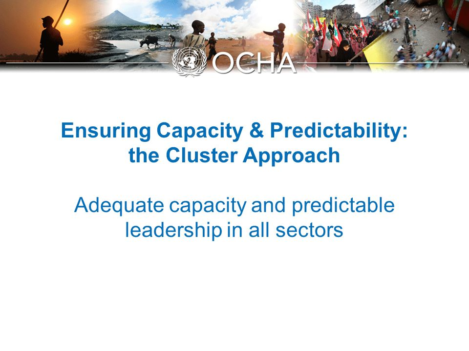 Ensuring Capacity & Predictability: the Cluster Approach Adequate capacity and predictable leadership in all sectors