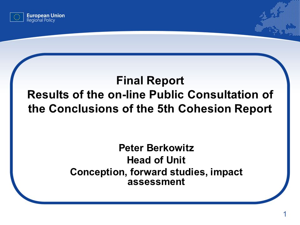 1 Final Report Results of the on-line Public Consultation of the Conclusions of the 5th Cohesion Report Peter Berkowitz Head of Unit Conception, forward studies, impact assessment