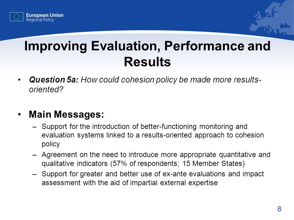 9 Improving Evaluation, Performance and Results Question 5b: Which priorities should be obligatory.