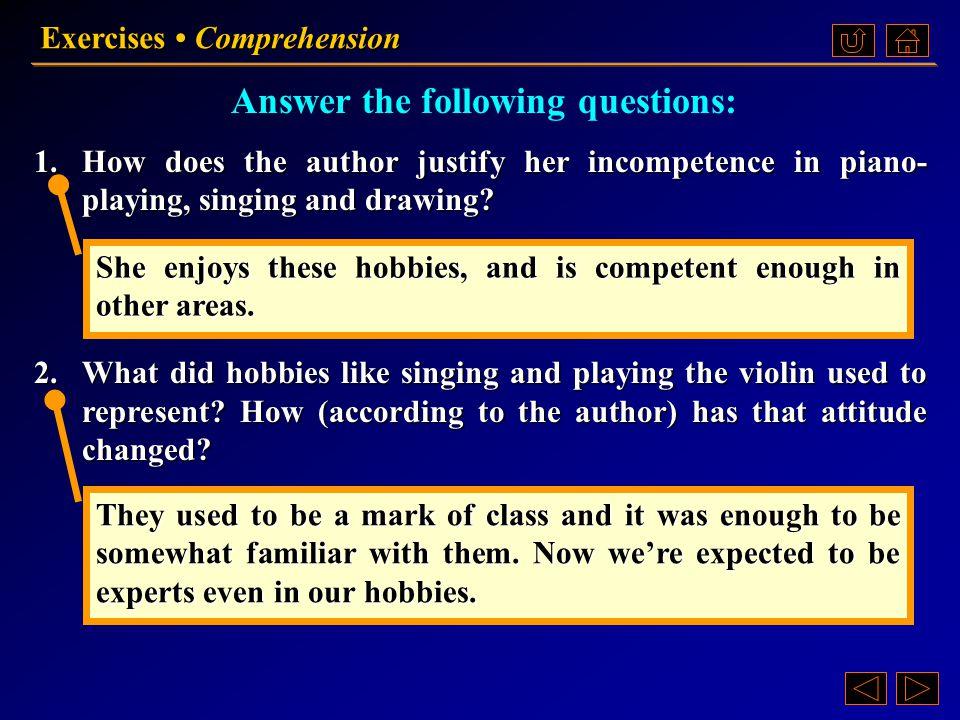 Exercises Comprehension Ex. II, p. 203 《读写教程 III 》 : Ex. II, p. 203