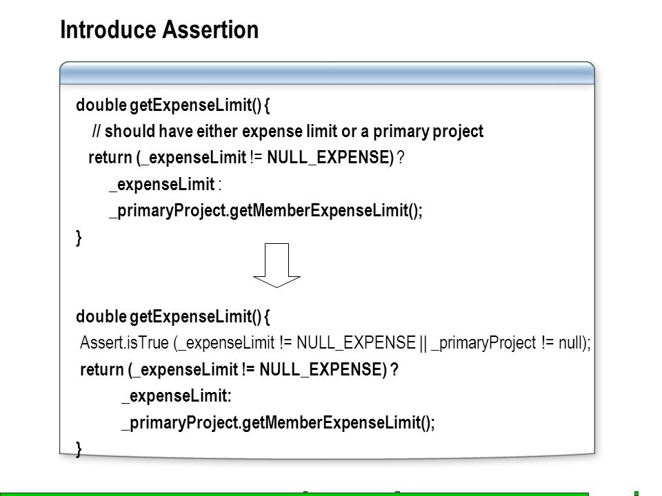 Introduce Assertion double getExpenseLimit() { // should have either expense limit or a primary project return (_expenseLimit != NULL_EXPENSE) ? _expe
