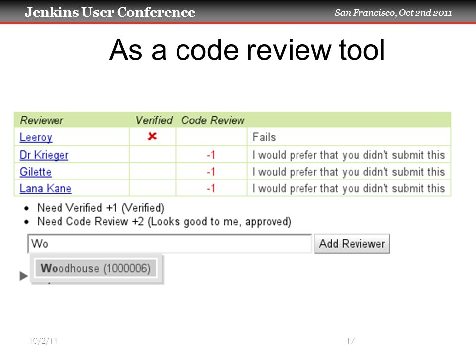 Jenkins User Conference San Francisco, Oct 2nd 2011 10/2/1117 As a code review tool