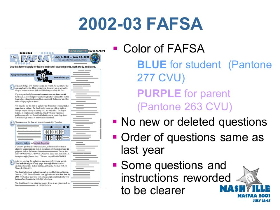 2002-03 FAFSA  OMB clearance -- May 17, 2001  FAFSA will include insert and postcard  FAFSA Ordering/Distribution  Announcement on IFAP in Septemb